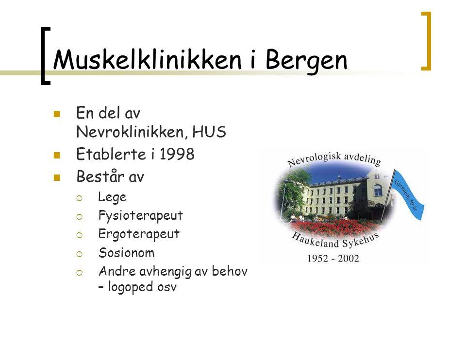 Muskelklinikken i Bergen  En del av Nevroklinikken, HUS  Etablerte i 1998  Består av  Lege  Fysioterapeut  Ergoterapeut  Sosionom  Andre avhen