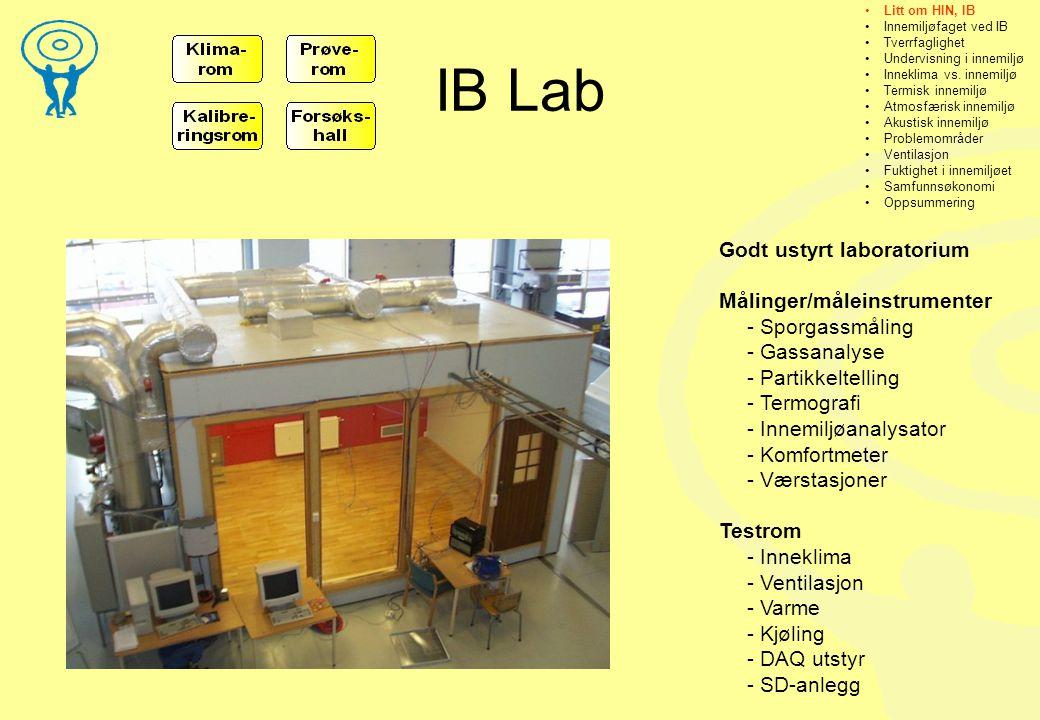 IB Lab Godt ustyrt laboratorium Målinger/måleinstrumenter - Sporgassmåling - Gassanalyse - Partikkeltelling - Termografi - Innemiljøanalysator - Komfortmeter - Værstasjoner Testrom - Inneklima - Ventilasjon - Varme - Kjøling - DAQ utstyr - SD-anlegg •Litt om HIN, IB •Innemiljøfaget ved IB •Tverrfaglighet •Undervisning i innemiljø •Inneklima vs.