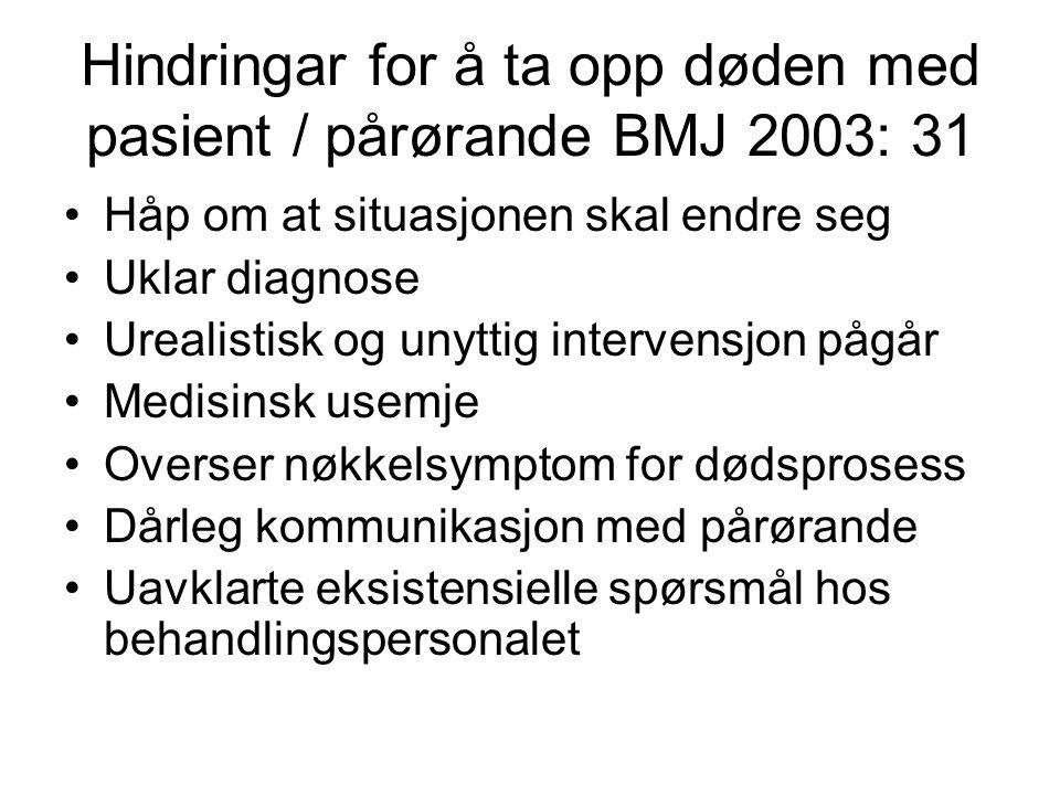Hindringar for å ta opp døden med pasient / pårørande BMJ 2003: 31 •Håp om at situasjonen skal endre seg •Uklar diagnose •Urealistisk og unyttig inter