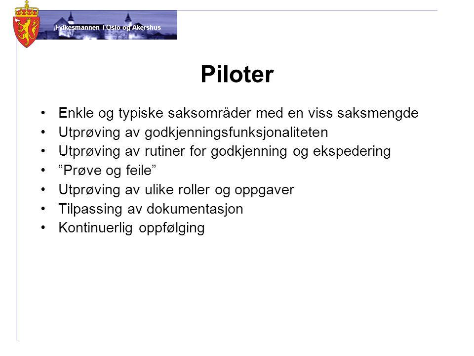 Fylkesmannen i Oslo og Akershus Piloter •Enkle og typiske saksområder med en viss saksmengde •Utprøving av godkjenningsfunksjonaliteten •Utprøving av