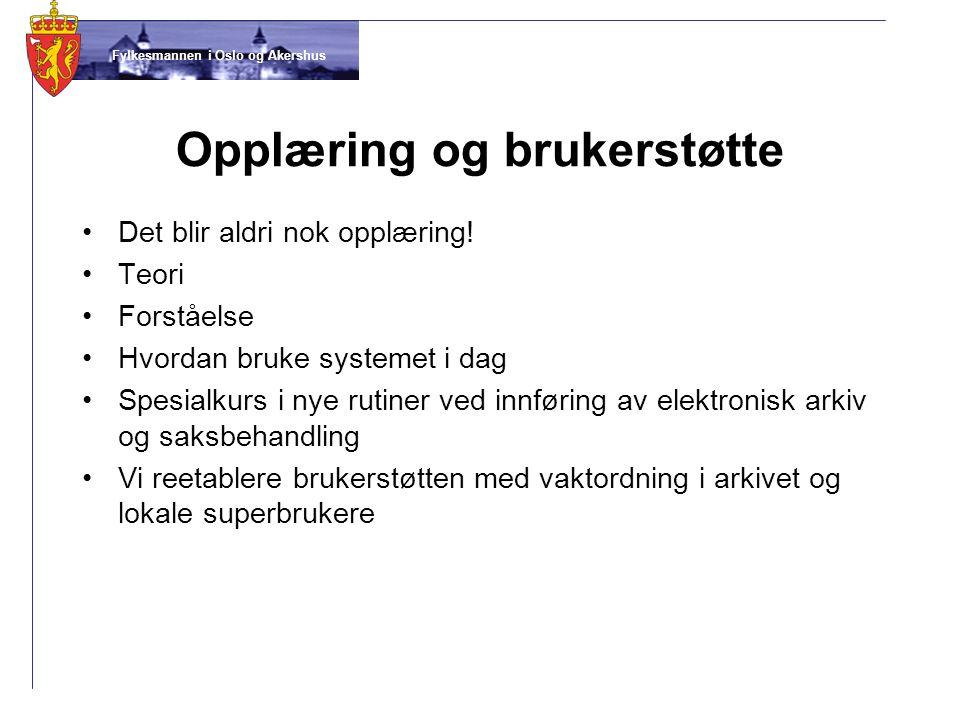 Fylkesmannen i Oslo og Akershus Opplæring og brukerstøtte •Det blir aldri nok opplæring! •Teori •Forståelse •Hvordan bruke systemet i dag •Spesialkurs