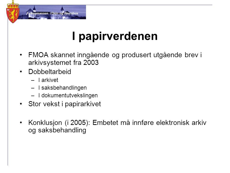 Fylkesmannen i Oslo og Akershus I papirverdenen •FMOA skannet inngående og produsert utgående brev i arkivsystemet fra 2003 •Dobbeltarbeid –I arkivet