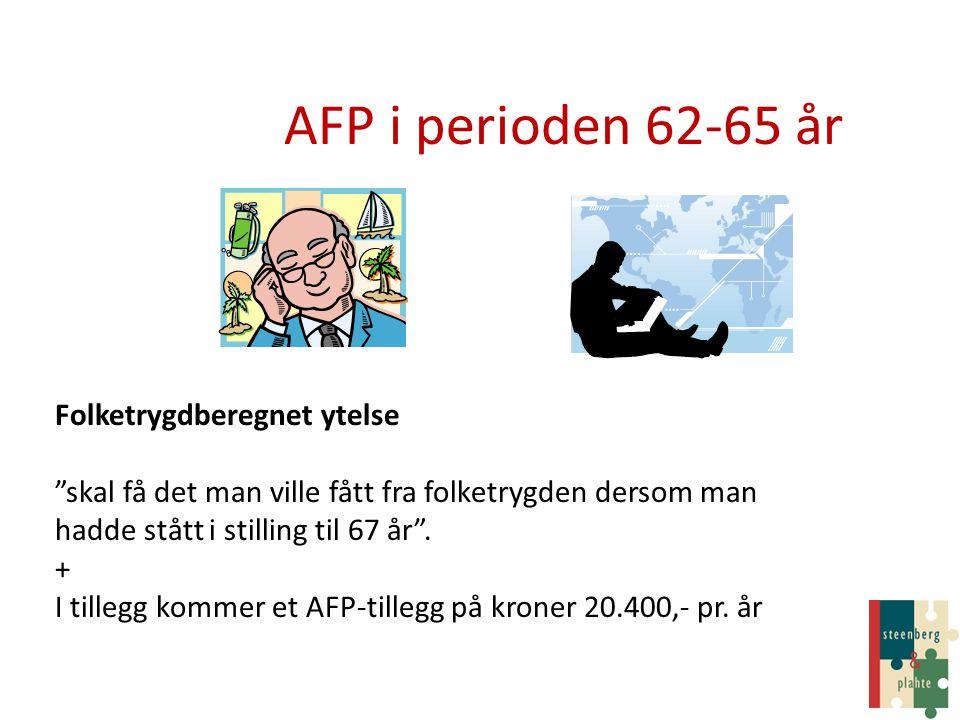 "AFP i perioden 62-65 år Folketrygdberegnet ytelse ""skal få det man ville fått fra folketrygden dersom man hadde stått i stilling til 67 år"". + I tille"