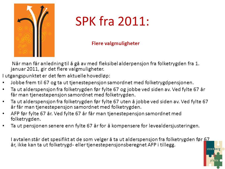 SPK fra 2011: Flere valgmuligheter Når man får anledning til å gå av med fleksibel alderpensjon fra folketrygden fra 1. januar 2011, gir det flere val
