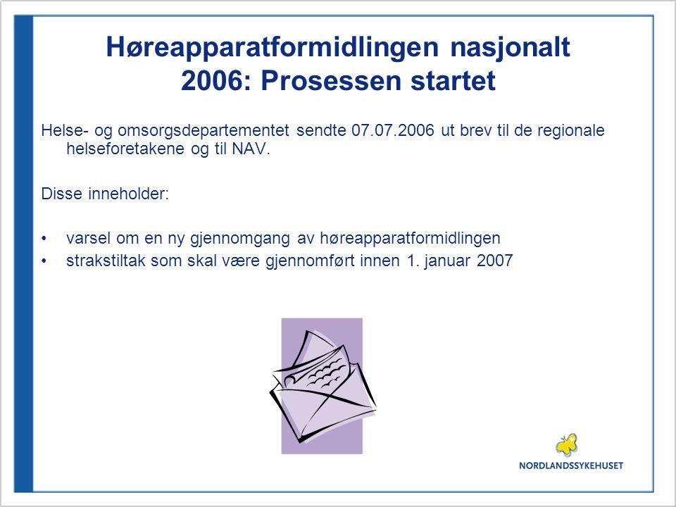 Høreapparatformidlingen nasjonalt 2006: Prosessen startet Helse- og omsorgsdepartementet sendte 07.07.2006 ut brev til de regionale helseforetakene og