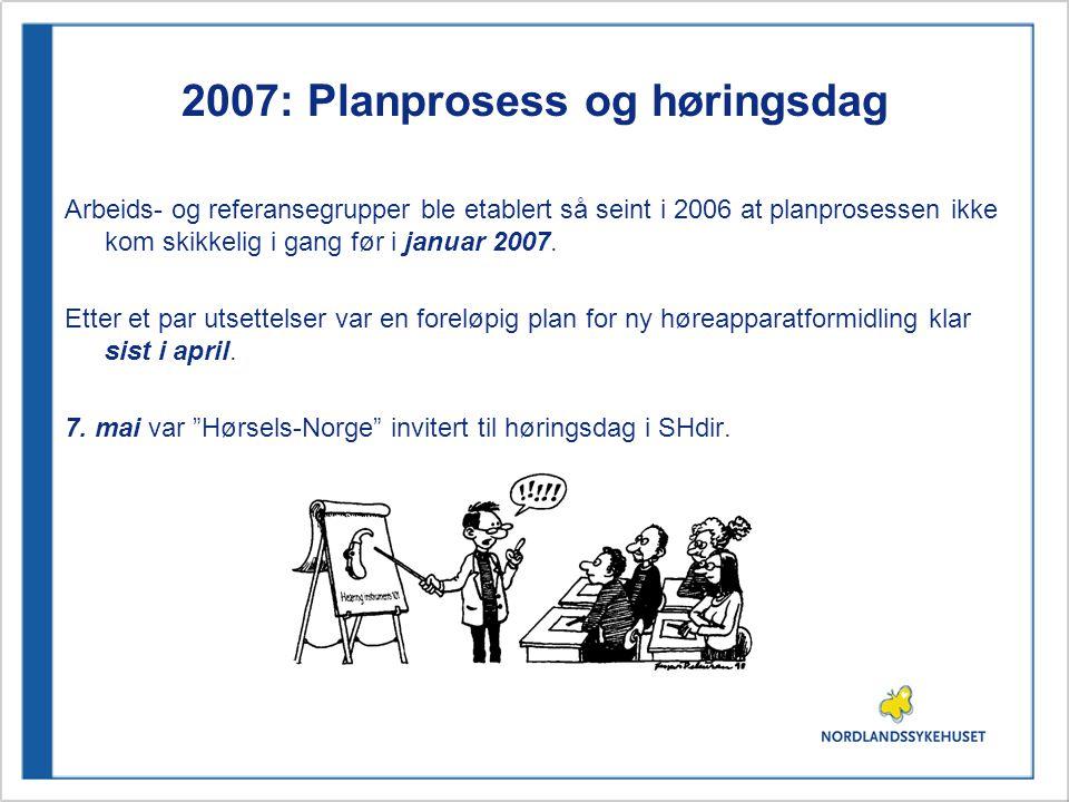 2007: Planprosess og høringsdag Arbeids- og referansegrupper ble etablert så seint i 2006 at planprosessen ikke kom skikkelig i gang før i januar 2007