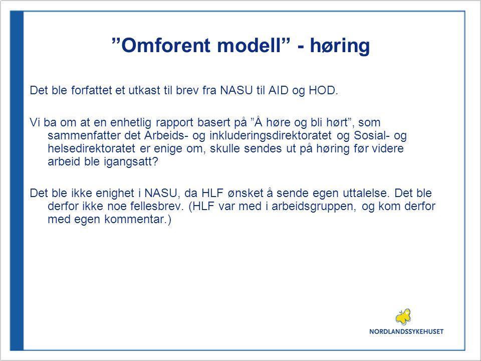 """""""Omforent modell"""" - høring Det ble forfattet et utkast til brev fra NASU til AID og HOD. Vi ba om at en enhetlig rapport basert på """"Å høre og bli hørt"""
