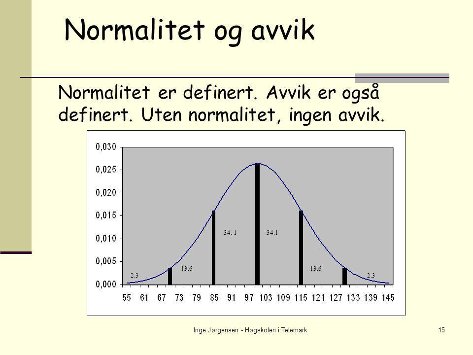 Inge Jørgensen - Høgskolen i Telemark15 Normalitet og avvik Normalitet er definert. Avvik er også definert. Uten normalitet, ingen avvik. 34.1 13.6 2.