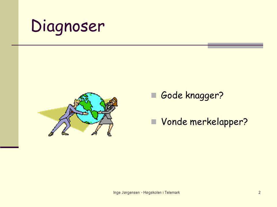 Inge Jørgensen - Høgskolen i Telemark13 Diagnoser i BUP 2002 (Samdata) Hyperkinetiske forstyrrelser21,3% Nevrotiske og belastningsrelaterte lidelser18,2% Stemningslidelser 7,6% Blandede atferds- og følelsesmessige forstyrrelser 5,7% Atferdsforstyrrelser 4,2% Spise- og søvnforstyrrelser 3,2% Forstyrrelser i sos.