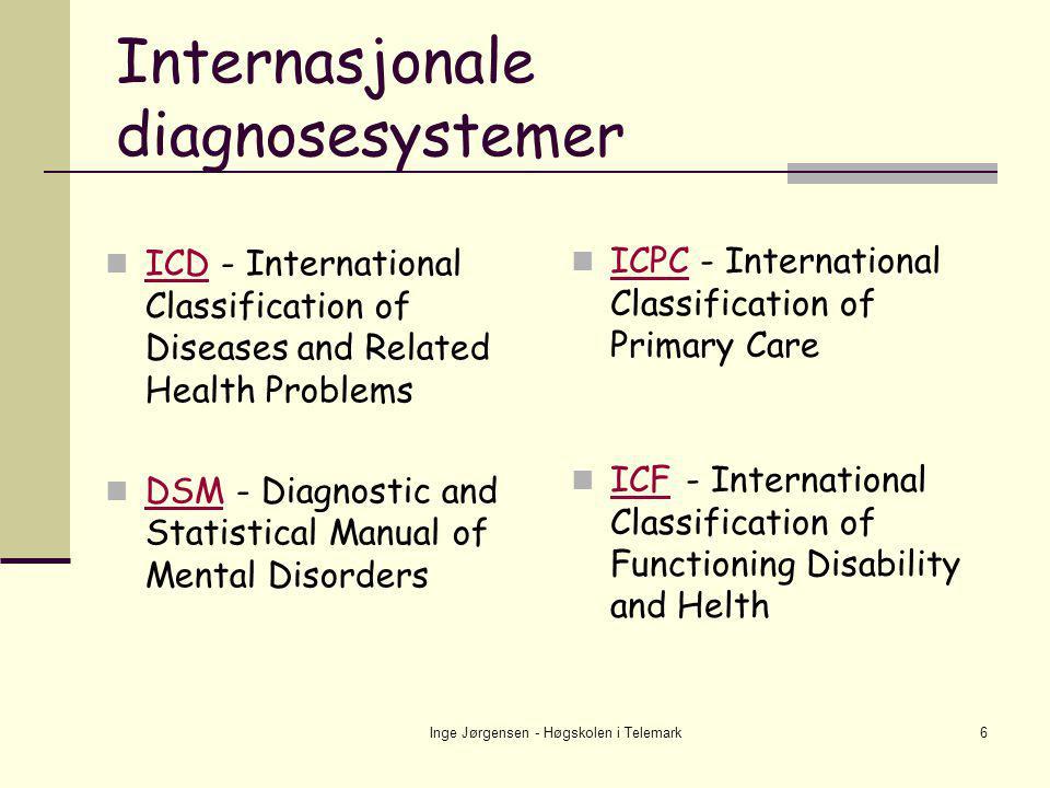 Inge Jørgensen - Høgskolen i Telemark7 Grunnlag for diagnosesystemene  Diagnosene er basert på at klinikere og forskere er blitt enige om beskrivelser av fenomener  Jevnlige revisjoner