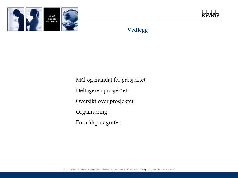 © 2002 KPMG AS, the Norwegian member firm of KPMG International, a Swiss non-operating association. All rights reserved. Vedlegg Mål og mandat for pro