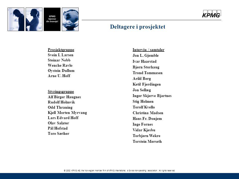 © 2002 KPMG AS, the Norwegian member firm of KPMG International, a Swiss non-operating association. All rights reserved. Deltagere i prosjektet Prosje