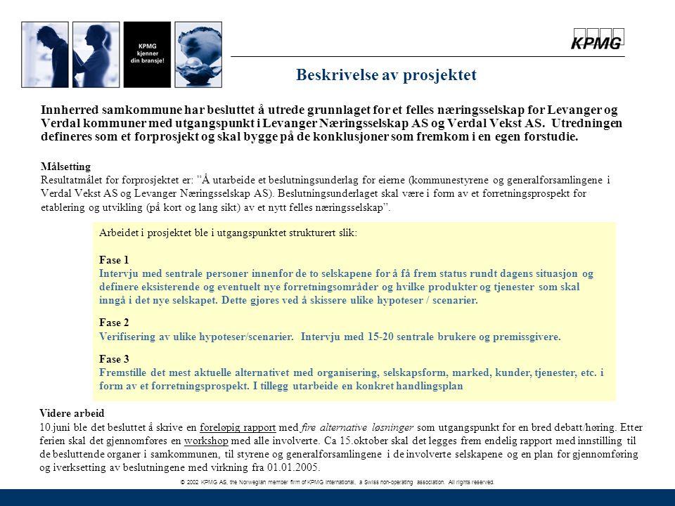 © 2002 KPMG AS, the Norwegian member firm of KPMG International, a Swiss non-operating association. All rights reserved. Beskrivelse av prosjektet Inn