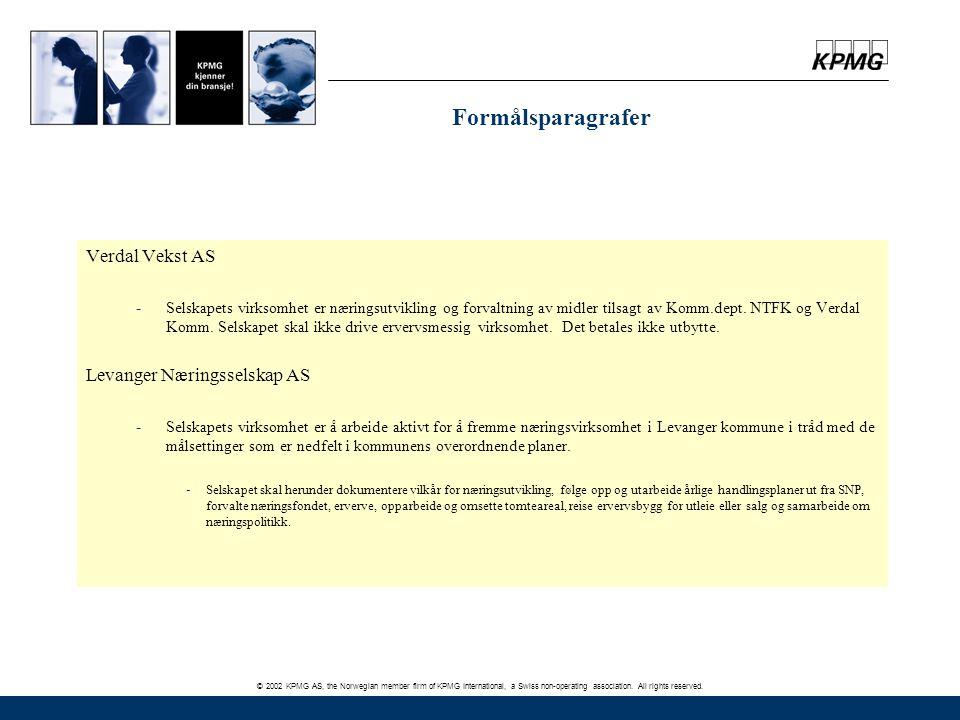 © 2002 KPMG AS, the Norwegian member firm of KPMG International, a Swiss non-operating association. All rights reserved. Formålsparagrafer Verdal Veks