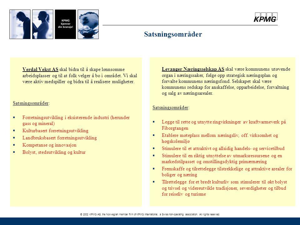 © 2002 KPMG AS, the Norwegian member firm of KPMG International, a Swiss non-operating association. All rights reserved. Verdal Vekst AS skal bidra ti
