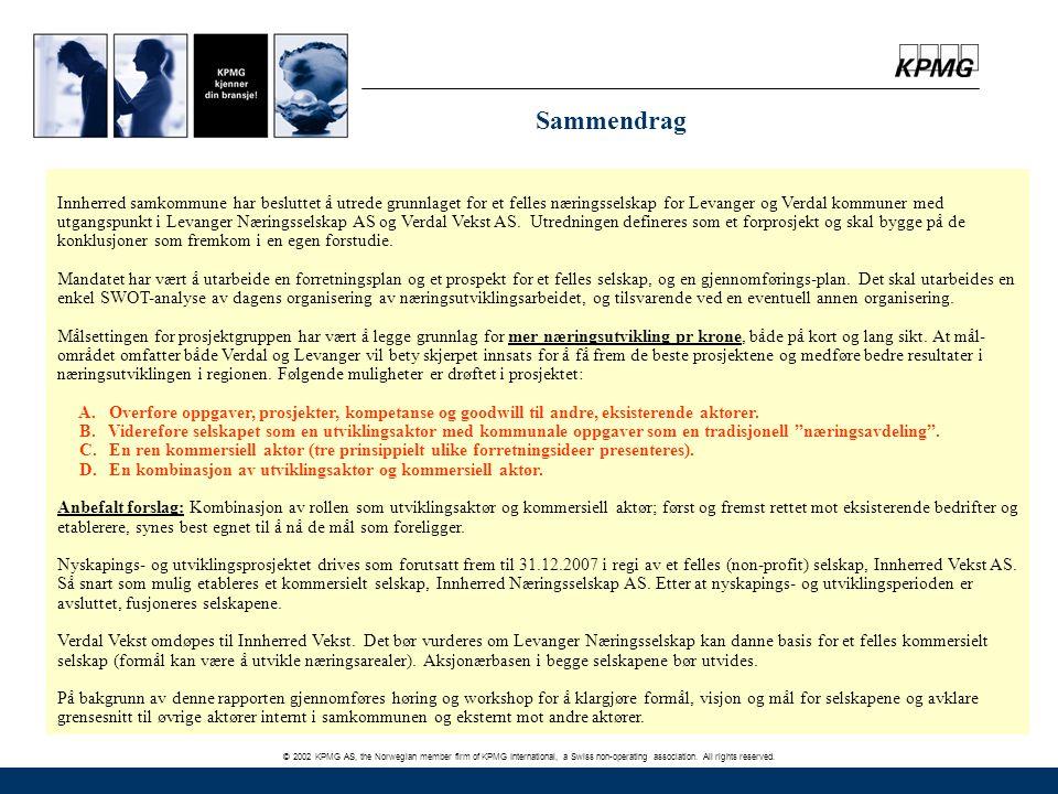 © 2002 KPMG AS, the Norwegian member firm of KPMG International, a Swiss non-operating association. All rights reserved. Sammendrag Innherred samkommu