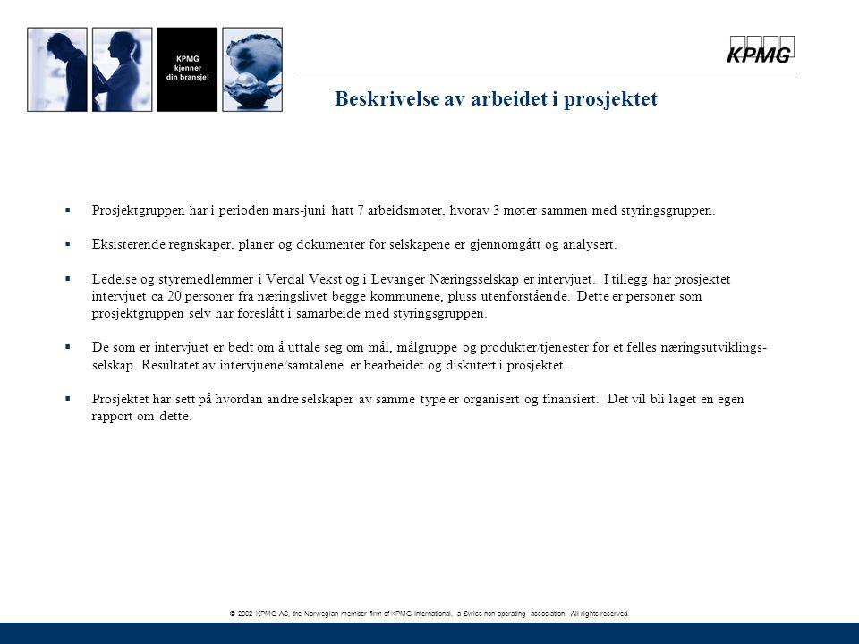 © 2002 KPMG AS, the Norwegian member firm of KPMG International, a Swiss non-operating association. All rights reserved. Beskrivelse av arbeidet i pro