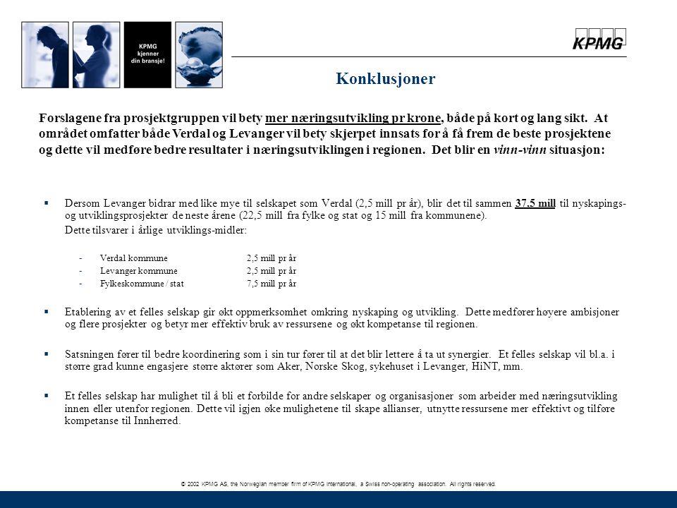 © 2002 KPMG AS, the Norwegian member firm of KPMG International, a Swiss non-operating association. All rights reserved. Konklusjoner  Dersom Levange