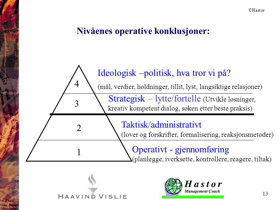 13 Ideologisk –politisk, hva tror vi på? (mål, verdier, holdninger, tillit, lyst, langsiktige relasjoner) Strategisk – lytte/fortelle (Utvikle løsning