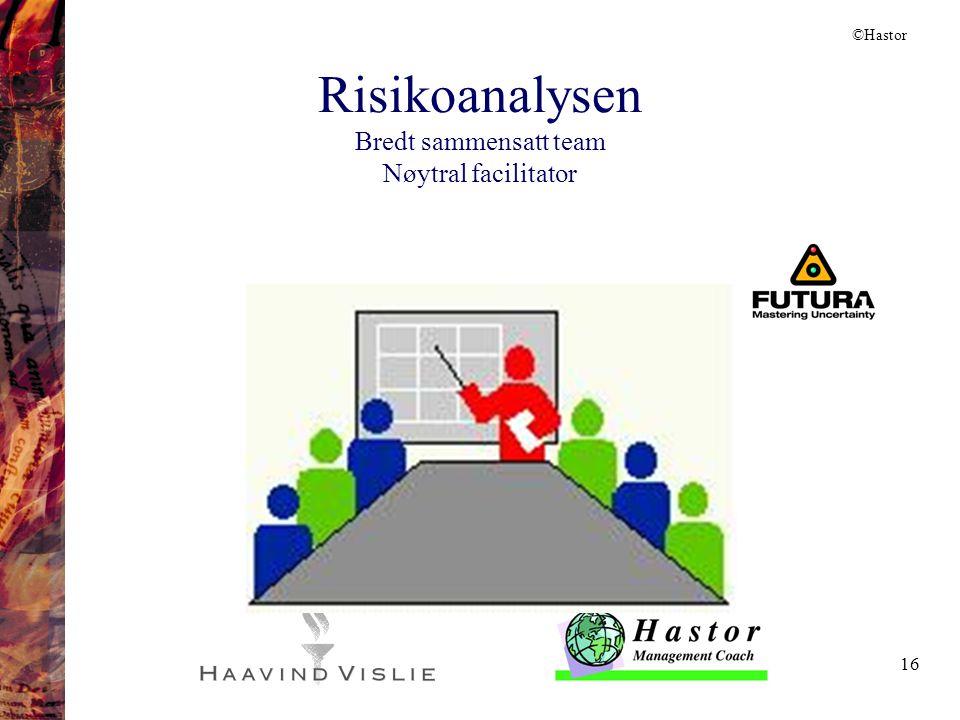 16 Risikoanalysen Bredt sammensatt team Nøytral facilitator ©Hastor