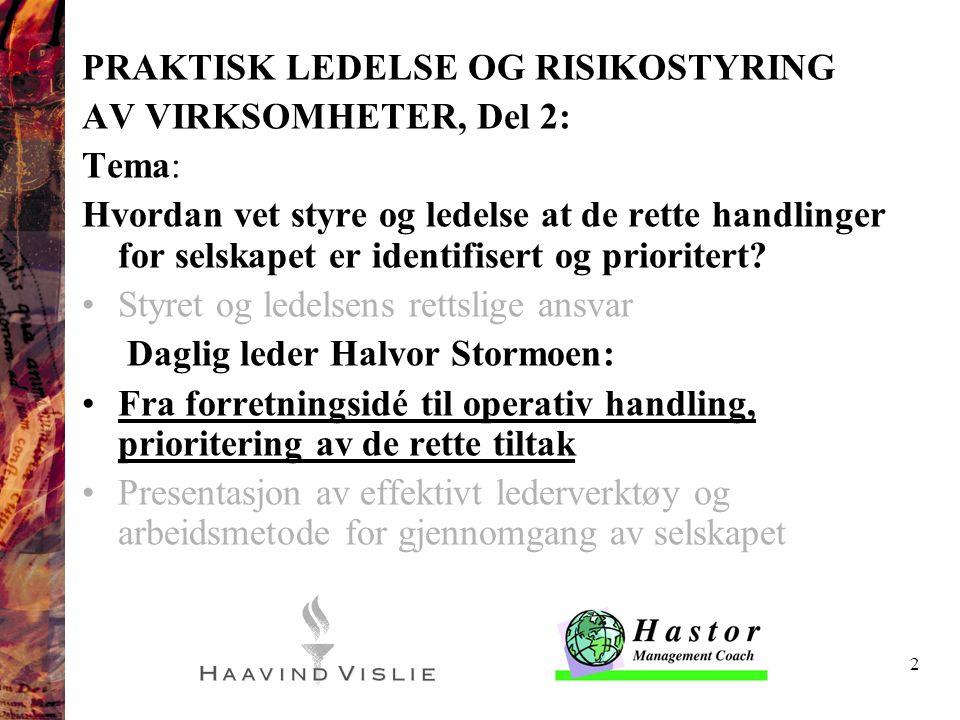 2 PRAKTISK LEDELSE OG RISIKOSTYRING AV VIRKSOMHETER, Del 2: Tema: Hvordan vet styre og ledelse at de rette handlinger for selskapet er identifisert og