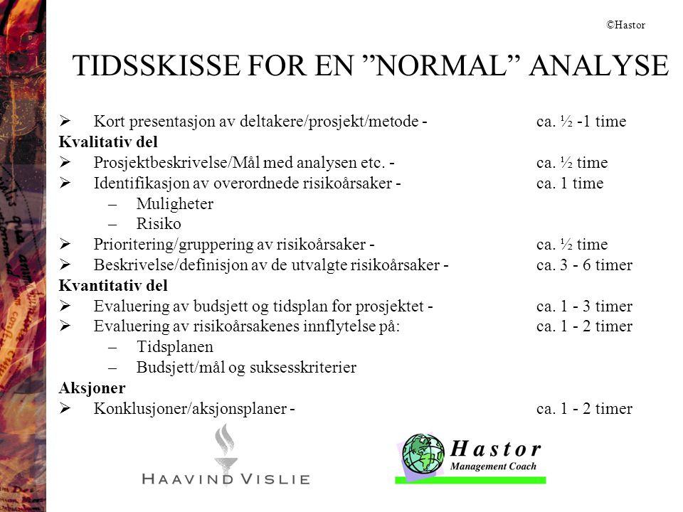 """TIDSSKISSE FOR EN """"NORMAL"""" ANALYSE  Kort presentasjon av deltakere/prosjekt/metode -ca. ½ -1 time Kvalitativ del  Prosjektbeskrivelse/Mål med analys"""