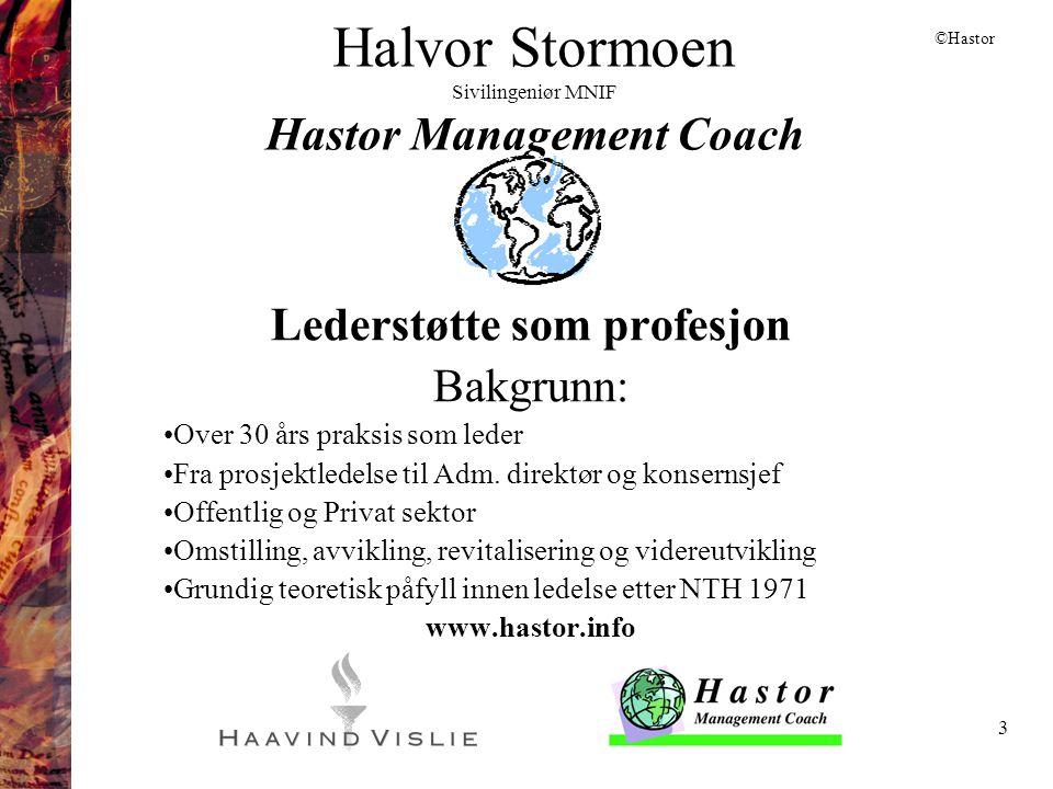 3 Halvor Stormoen Sivilingeniør MNIF Hastor Management Coach Lederstøtte som profesjon Bakgrunn: •Over 30 års praksis som leder •Fra prosjektledelse t