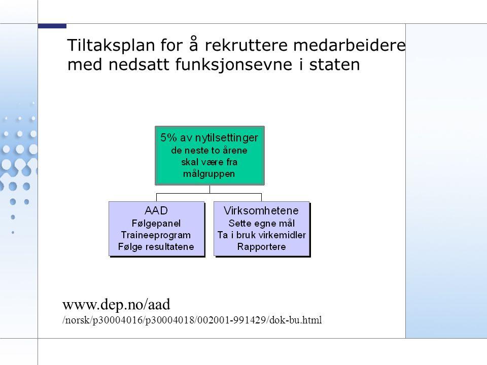 17 Tiltaksplan for å rekruttere medarbeidere med nedsatt funksjonsevne i staten www.dep.no/aad /norsk/p30004016/p30004018/002001-991429/dok-bu.html