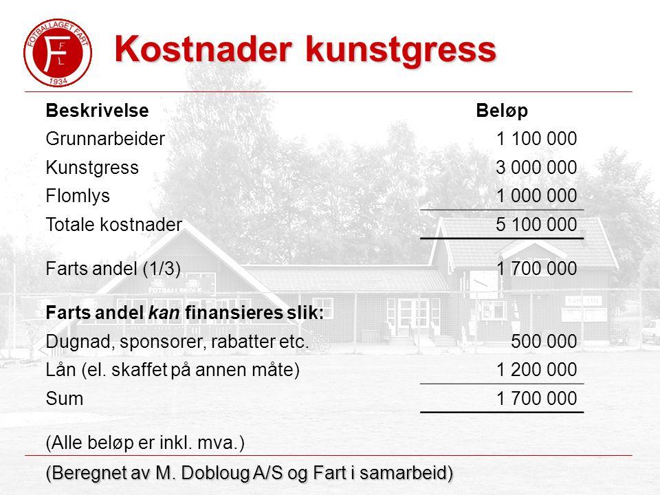 Kostnader kunstgress (Beregnet av M.