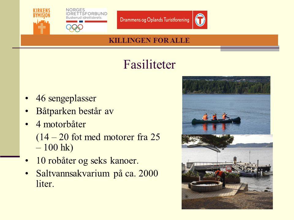 KILLINGEN FOR ALLE Fasiliteter •46 sengeplasser •Båtparken består av •4 motorbåter (14 – 20 fot med motorer fra 25 – 100 hk) •10 robåter og seks kanoe
