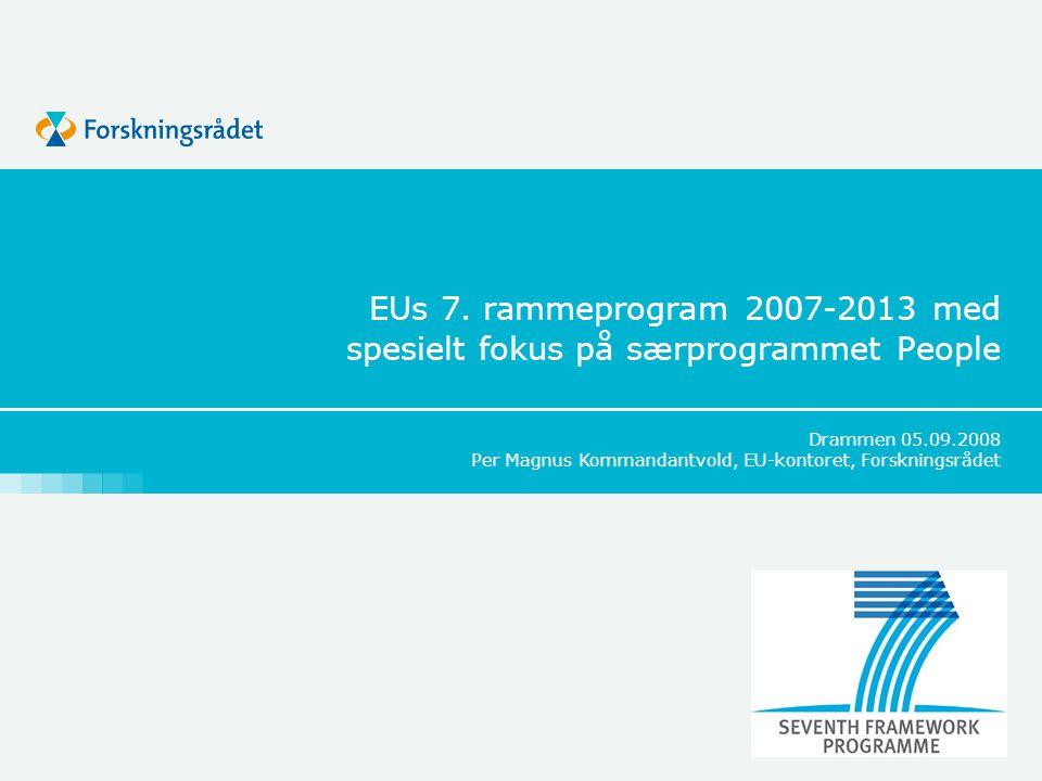 EUs 7. rammeprogram 2007-2013 med spesielt fokus på særprogrammet People Drammen 05.09.2008 Per Magnus Kommandantvold, EU-kontoret, Forskningsrådet