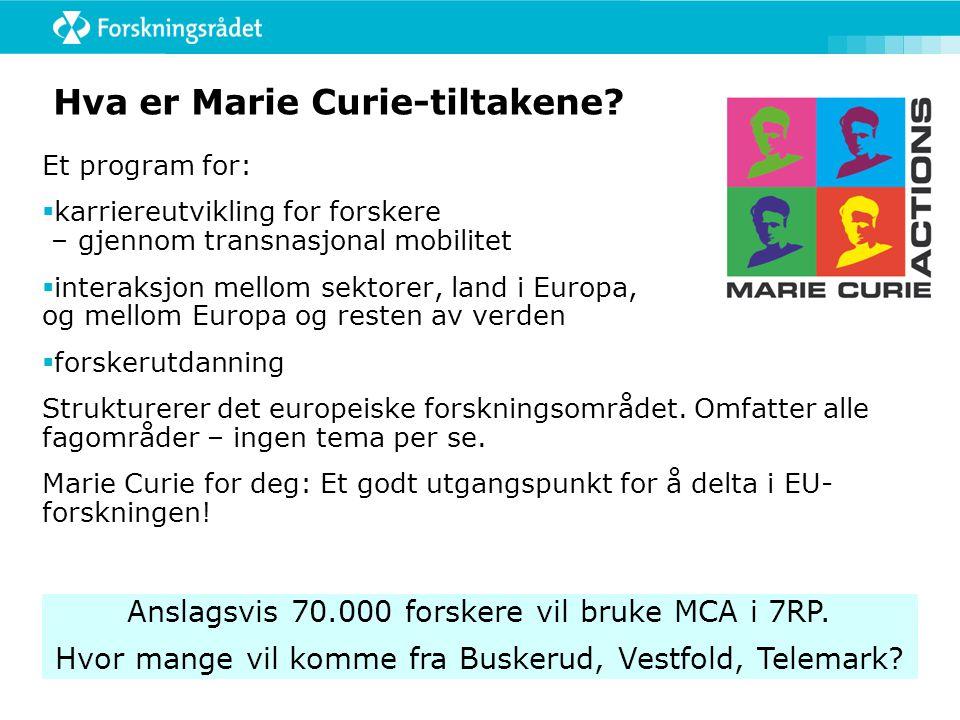 Hva er Marie Curie-tiltakene.