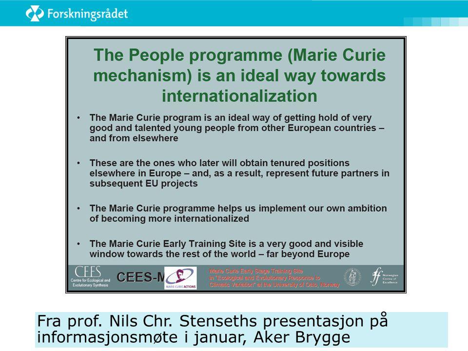 Fra prof. Nils Chr. Stenseths presentasjon på informasjonsmøte i januar, Aker Brygge