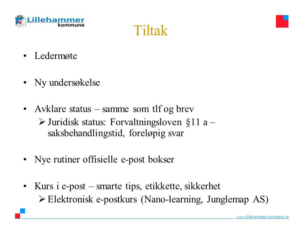 www.lillehammer.kommune.no Tiltak •Ledermøte •Ny undersøkelse •Avklare status – samme som tlf og brev  Juridisk status: Forvaltningsloven §11 a – sak