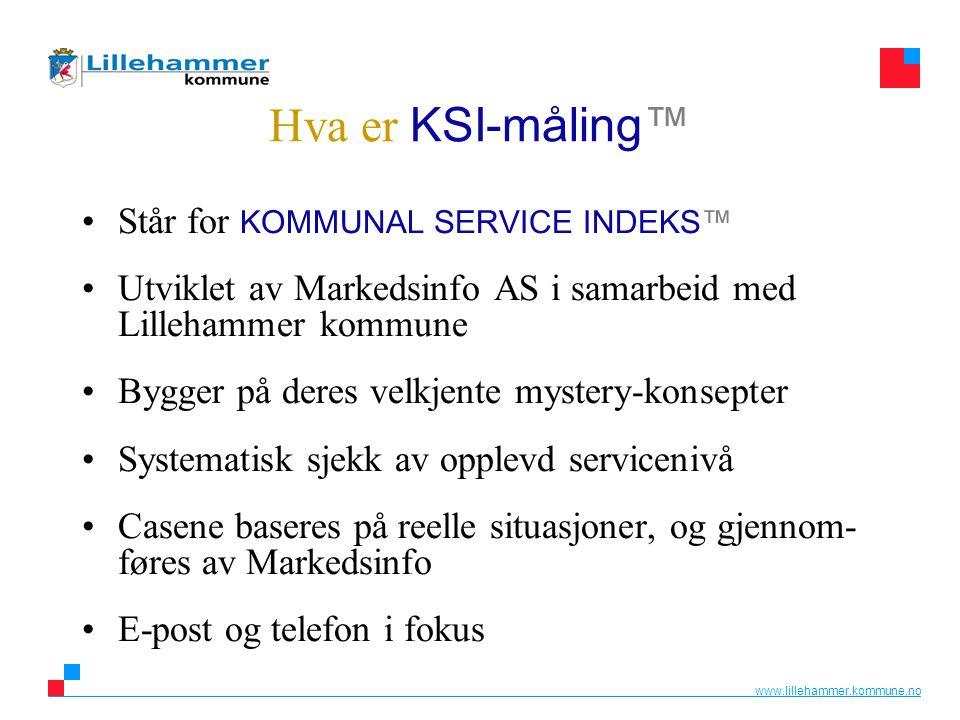 www.lillehammer.kommune.no Hva er KSI-måling™ •Står for KOMMUNAL SERVICE INDEKS™ •Utviklet av Markedsinfo AS i samarbeid med Lillehammer kommune •Bygg