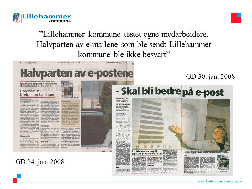 """www.lillehammer.kommune.no """"Lillehammer kommune testet egne medarbeidere. Halvparten av e-mailene som ble sendt Lillehammer kommune ble ikke besvart"""""""
