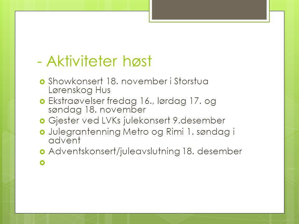 - Aktiviteter høst  Showkonsert 18. november i Storstua Lørenskog Hus  Ekstraøvelser fredag 16., lørdag 17. og søndag 18. november  Gjester ved LVK
