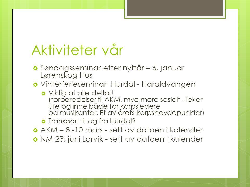 Aktiviteter vår  Søndagsseminar etter nyttår – 6. januar Lørenskog Hus  Vinterferieseminar Hurdal - Haraldvangen  Viktig at alle deltar! (forberede
