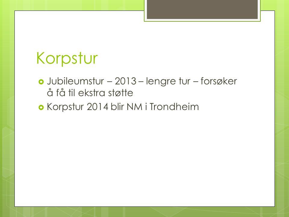 Korpstur  Jubileumstur – 2013 – lengre tur – forsøker å få til ekstra støtte  Korpstur 2014 blir NM i Trondheim