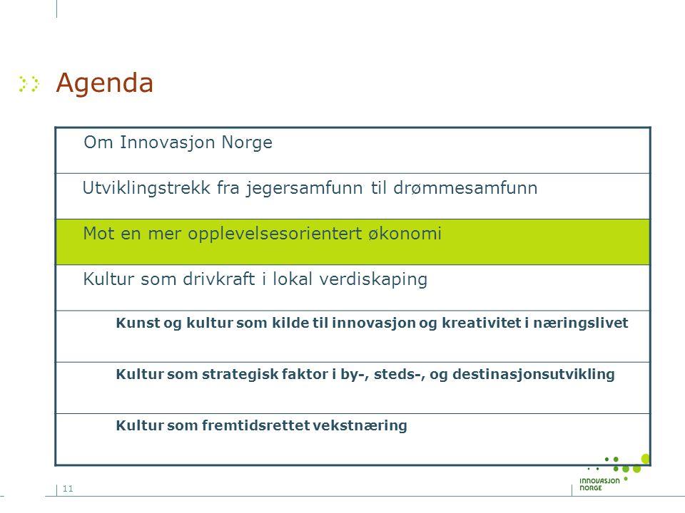 11 Agenda Om Innovasjon Norge Utviklingstrekk fra jegersamfunn til drømmesamfunn Mot en mer opplevelsesorientert økonomi Kultur som drivkraft i lokal