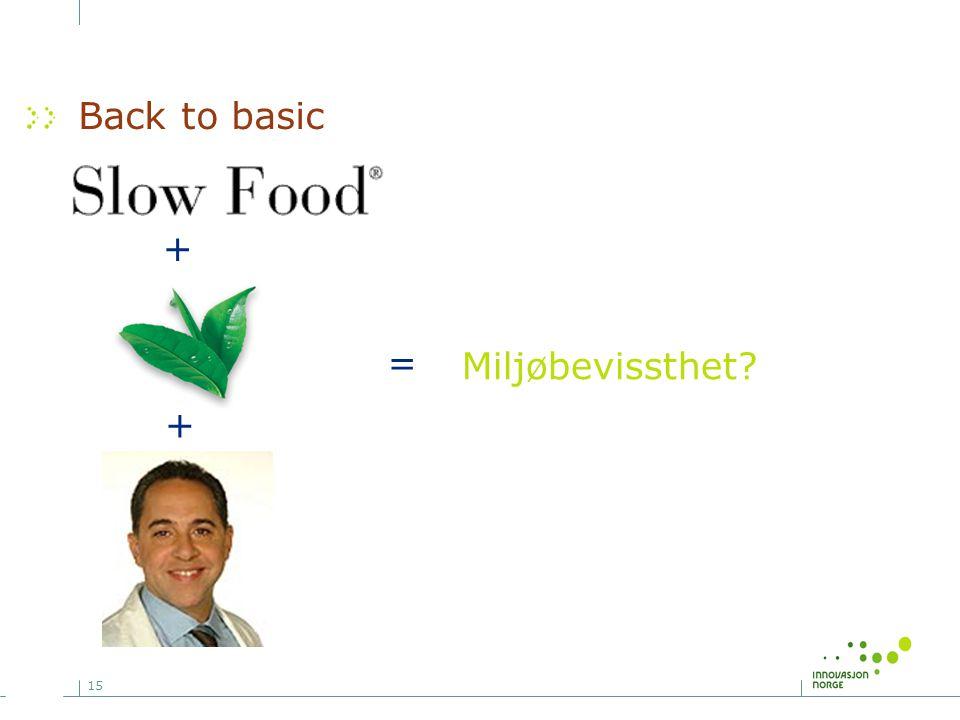 15 Back to basic = Miljøbevissthet? + +