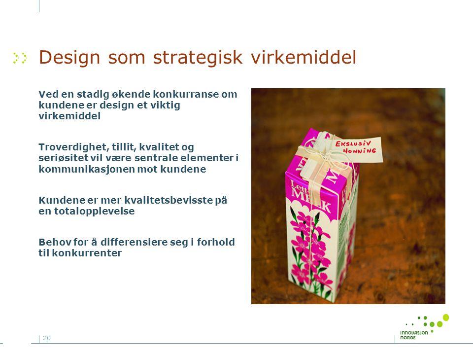 20 Design som strategisk virkemiddel Ved en stadig økende konkurranse om kundene er design et viktig virkemiddel Troverdighet, tillit, kvalitet og ser