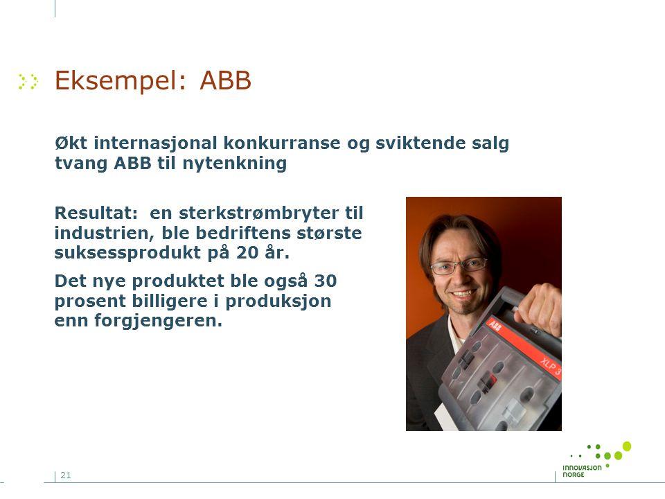 21 Eksempel: ABB Resultat: en sterkstrømbryter til industrien, ble bedriftens største suksessprodukt på 20 år. Det nye produktet ble også 30 prosent b