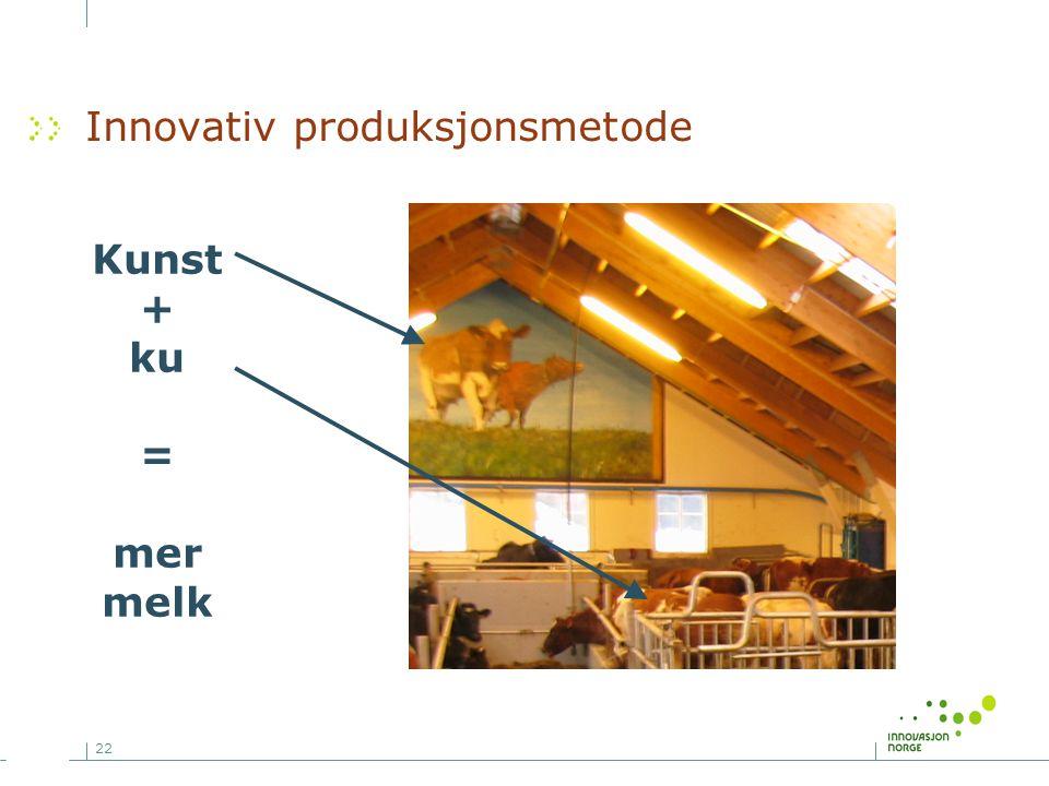 22 Innovativ produksjonsmetode Kunst + ku = mer melk