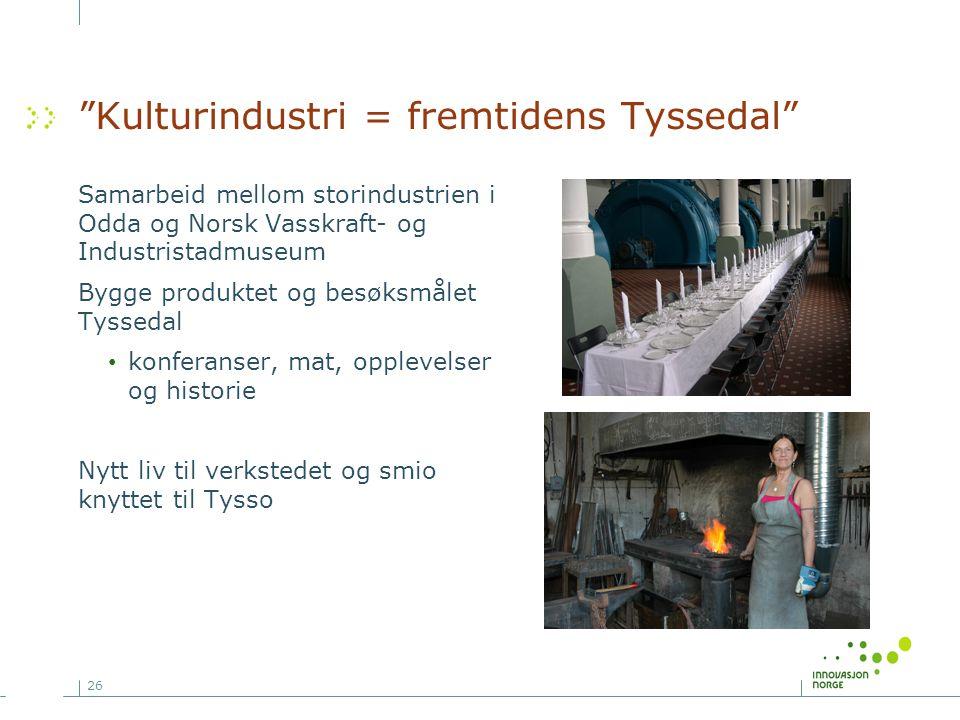 """26 """"Kulturindustri = fremtidens Tyssedal"""" Samarbeid mellom storindustrien i Odda og Norsk Vasskraft- og Industristadmuseum Bygge produktet og besøksmå"""