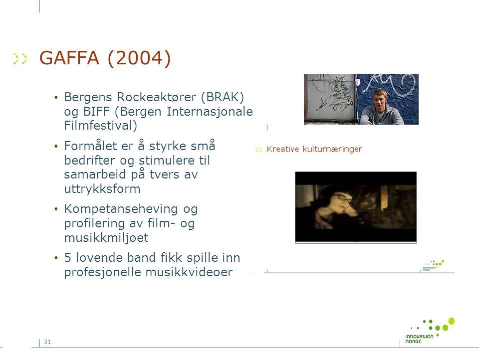 31 GAFFA (2004) • Bergens Rockeaktører (BRAK) og BIFF (Bergen Internasjonale Filmfestival) • Formålet er å styrke små bedrifter og stimulere til samar