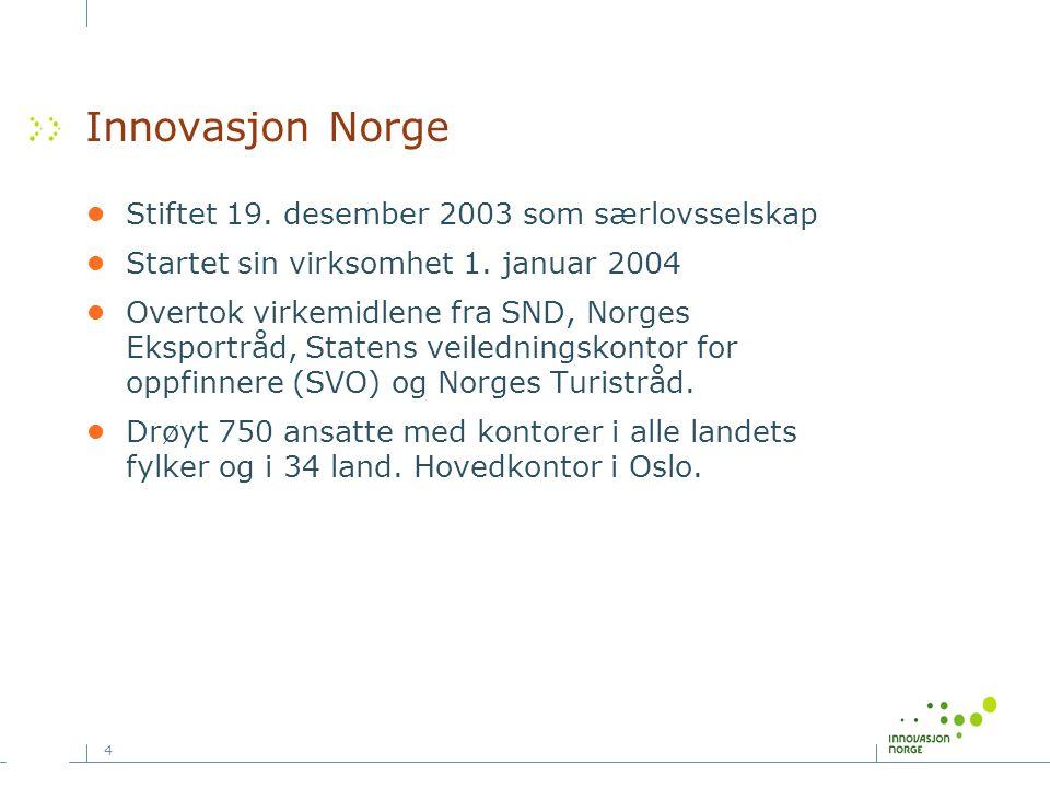 4 Innovasjon Norge •Stiftet 19. desember 2003 som særlovsselskap •Startet sin virksomhet 1. januar 2004 •Overtok virkemidlene fra SND, Norges Eksportr