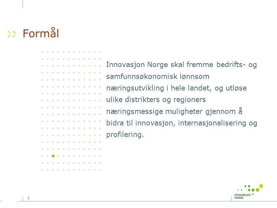 5 Formål Innovasjon Norge skal fremme bedrifts- og samfunnsøkonomisk lønnsom næringsutvikling i hele landet, og utløse ulike distrikters og regioners