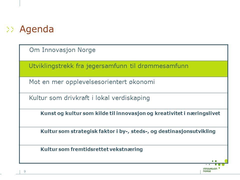 9 Agenda Om Innovasjon Norge Utviklingstrekk fra jegersamfunn til drømmesamfunn Mot en mer opplevelsesorientert økonomi Kultur som drivkraft i lokal v