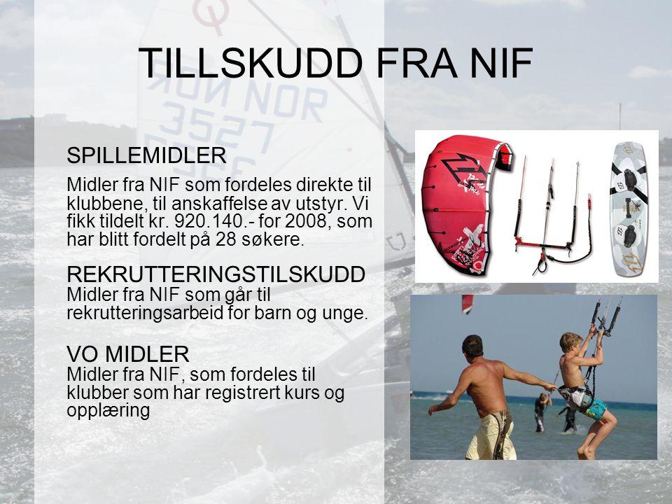 SPILLEMIDLER Midler fra NIF som fordeles direkte til klubbene, til anskaffelse av utstyr.